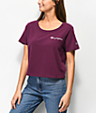 Champion Script Burgundy Crop T-Shirt