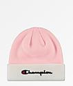 Champion Script Candy Pink & White Beanie