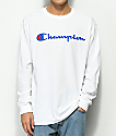 Champion Script Logo White Long Sleeve T-Shirt