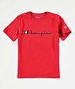 Champion Script Logo camiseta escarlata para niños