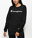Champion Script Logo camiseta negra de manga larga