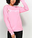 Champion Script Neon Pink Long Sleeve T-Shirt