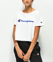 Champion Script White Crop T-Shirt