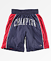 Champion Sideline shorts de baloncesto de satén en azul marino y rojo