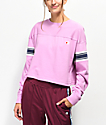 Champion Stripe Pink Crop Long Sleeve T-Shirt