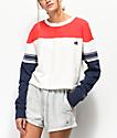Champion Stripe Red, White & Blue Crop Long Sleeve T-Shirt