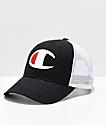 Champion Twill & Mesh Black & White Snapback Hat