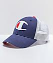 Champion Twill & Mesh Indigo Snapback Hat