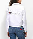 Champion White Crop Coaches Jacket
