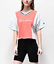Champion camiseta corta papaya, azul y blanca