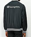 Champion chaqueta de béisbol negra satinada