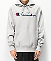 Champion sudadera con capucha gris con logo de chenilla