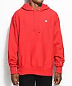 Champion sudadera con capucha roja de tejido inverso