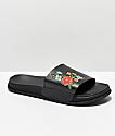 Civil Floral Black Slide Sandals