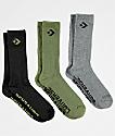 Converse Classic Star Chevron Olive, Dark Grey & Black 3 Pack Crew Socks
