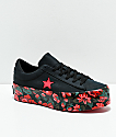 Converse One Star Black & Floral Platform Shoes