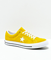 Converse One Star Mineral Yellow, White & Black Suede Skate Shoes