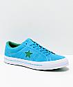 Converse One Star zapatos de skate en color océano hawaiano, verde alegre, y blanco
