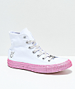 Converse x Miley Cyrus White & Pink Glitter High Top Shoes