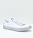Converse x Miley Cyrus White & Silver Glitter Shoes