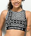 Converse x Miley Cyrus sujetador deportivo negro con estampado de cachemir