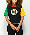 Cross Colours Color Block Black Crop T-Shirt