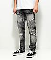 Crysp Denim Basket Woven Black Acid Wash Jeans