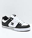 DC Pure zapatos de skate en negro y blanco