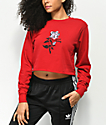 DROPOUT CLUB INTL. Spiegel Nothing Red Long Sleeve Crop T-Shirt