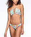 Damsel Arizona Stripe & Pale Blue Reversible Cheeky Bikini Bottom