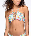 Damsel Arizona Stripe Light Blue Lace Up Bralette Bikini Top