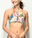 Damsel Fawn Tropical High Neck Halter Bikini Top