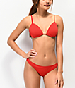 Damsel Lipstick Red Pique Cheeky Bikini Bottom