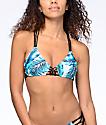 Damsel Macramé top de bikini triangulo en azul claro