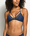 Damsel Mesh Side Blue Caged Triangle Bikini Top
