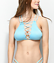 Damsel Ribbed Blue Lace Up High Neck Bikini Top