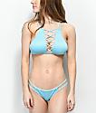 Damsel Ribbed Blue Strappy Cheeky Bikini Bottom