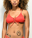 Damsel Scintilla Ribbed Red Lace Up Bralette Bikini Top