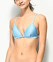 Damsel Shimmer Blue Triangle Bikini Top
