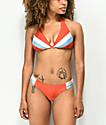 Damsel Shimmer Burnt Red, Blue & White Cheeky Bikini Bottom