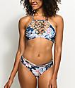 Damsel Waikiki Blue Floral Cheeky Bikini Bottom
