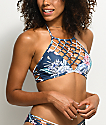 Damsel Waikiki top de bikini cabestro en azul floral