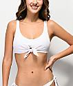 Damsel White Flat Rib Bralette Bikini Top