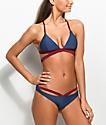 Damsel bottom de bikini con cordones en azul y rojo