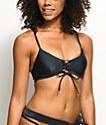 Damsel top de bikini bralette en negro y color plomo