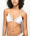 Damsel top de bikini de triángulo blanco con malla
