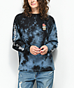 Dark Seas Amore Rose camiseta negra de manga larga con efecto tie dye