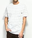 Dark Seas Olana camiseta a rayas con bolsillo en blanco y color menta