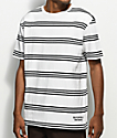 Deathworld Tokyo White & Black Striped Knit T-Shirt