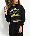 Diamond Supply Co. Athletic Logo Black Crop Hoodie